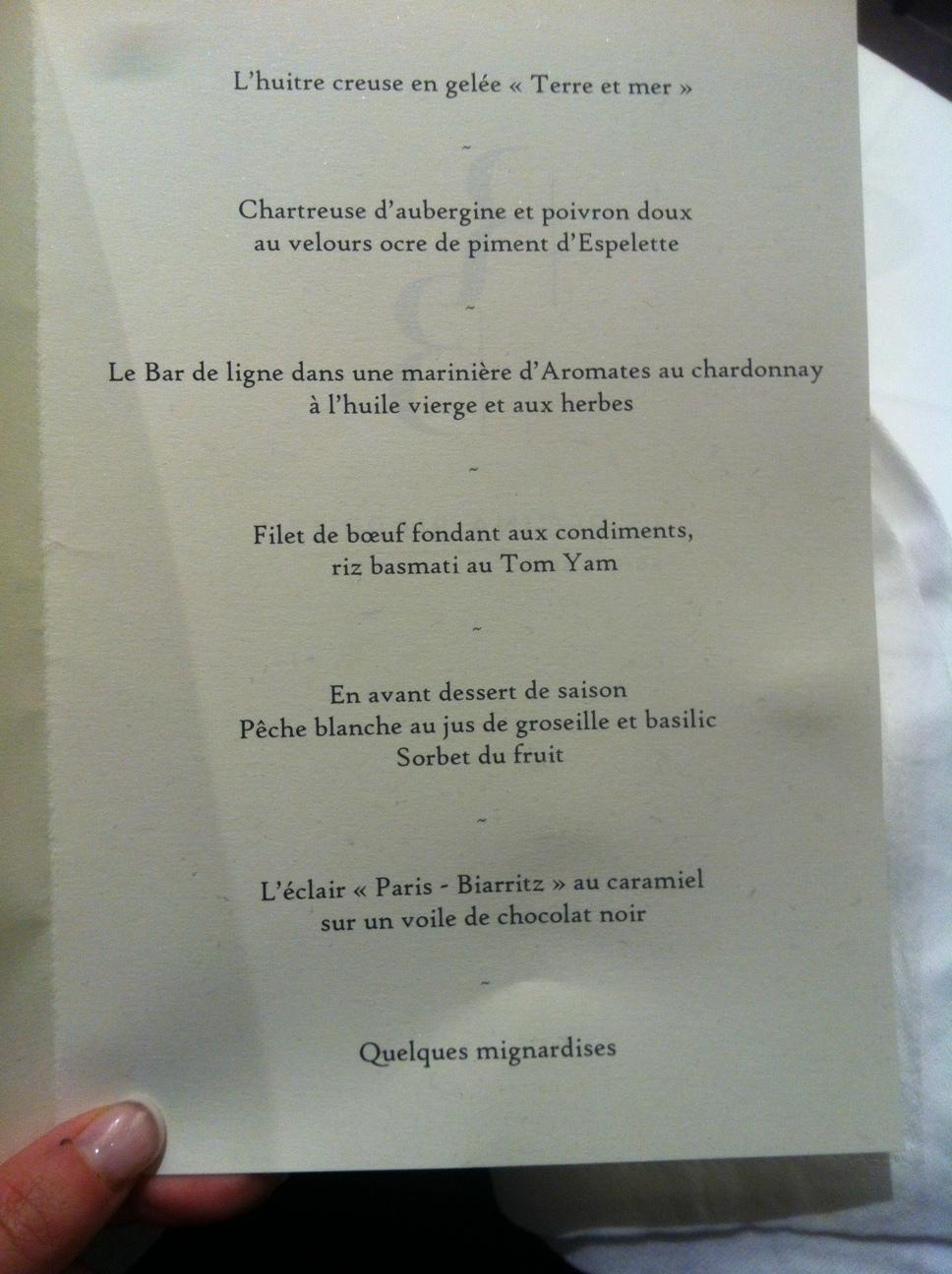 Un menu alléchant de George Blanc au Régina Hôtel