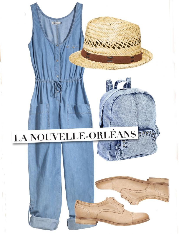5 destinations pour 5 looks en jean, lookée pour la nouvelle Orléans.