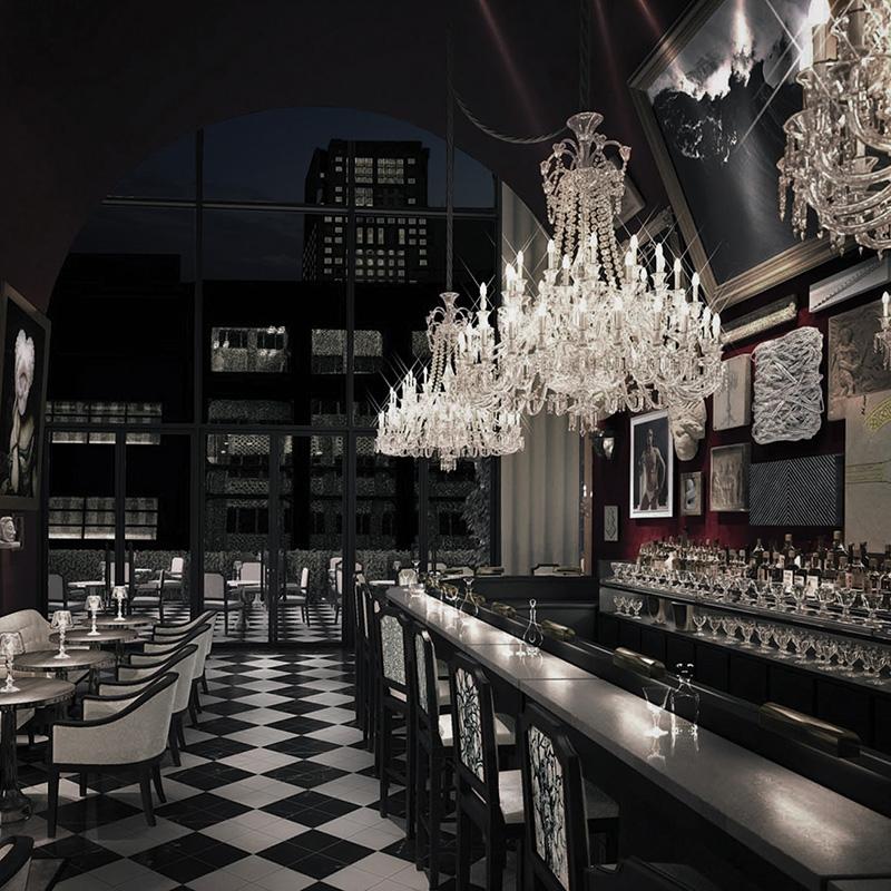 Le bar lounge du Baccarat hôtel à New York