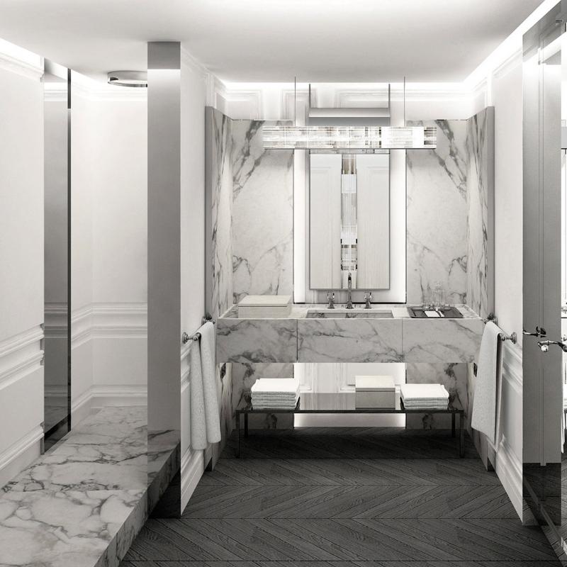 Une salle de bain privative attenante du Baccarat hôtel à New York