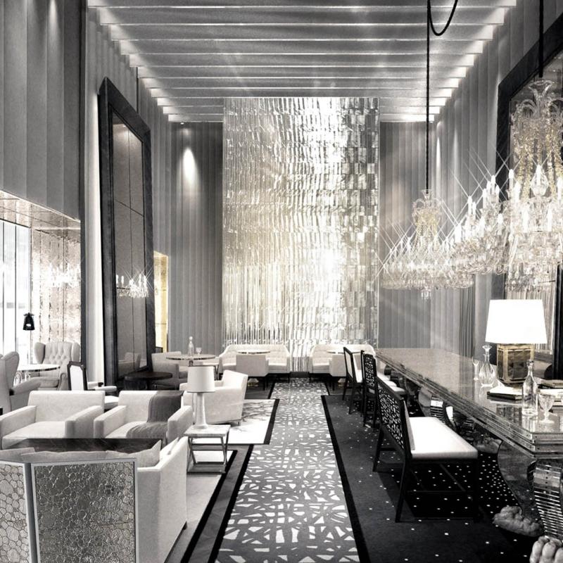 Dans les espaces communs du lobby du Baccarat Hôtel à New York