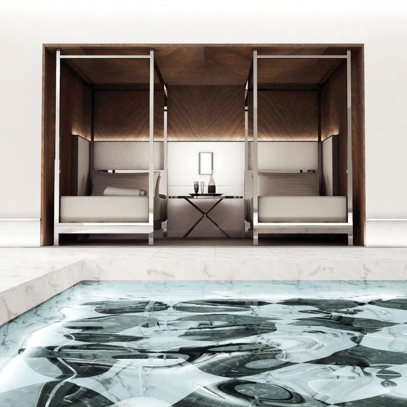 La belle piscine du Baccarat hôtel à New York