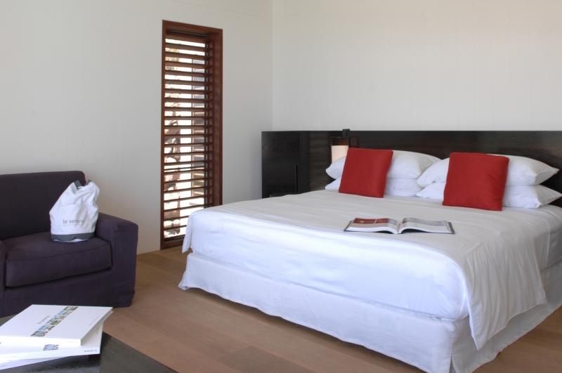 Dans une des chambres confortables de l'hôtel Le Sereno à St Barthélemy