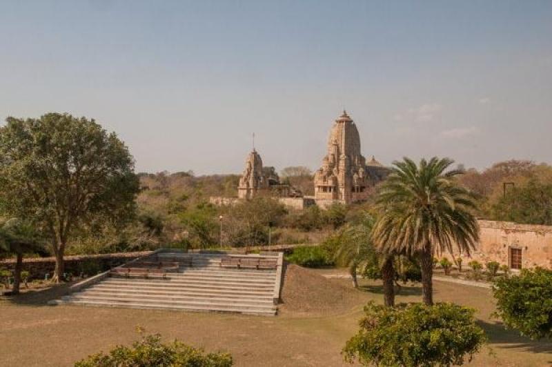Végétation et monument dans le fort de Chittorgarh
