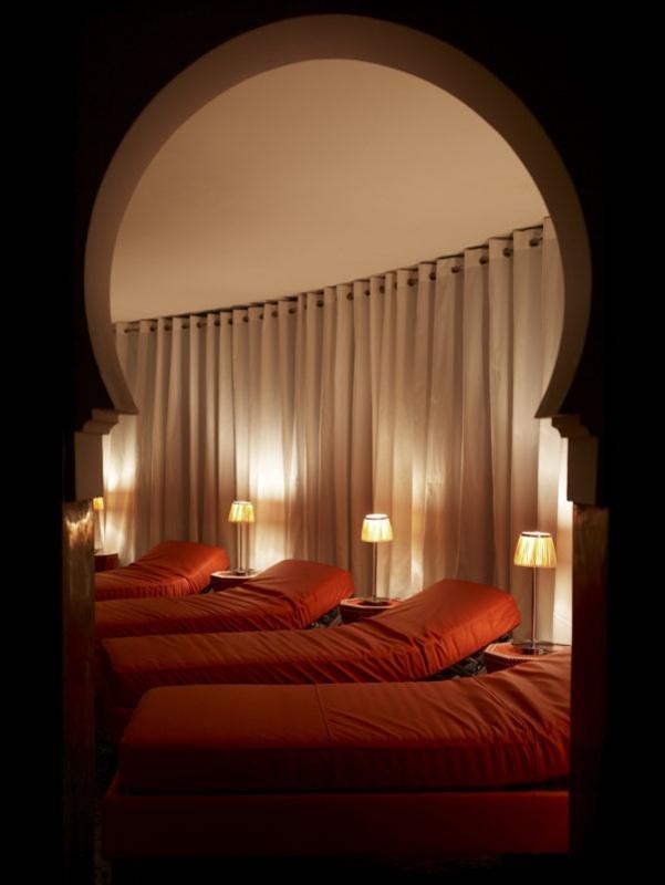 Dans la salle de repos du spa de la Mamounia à Marrakech