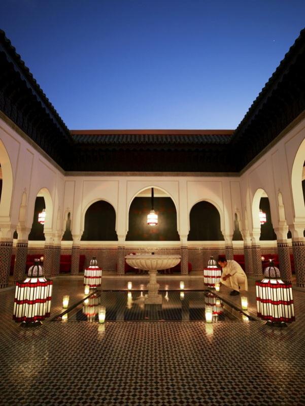 Dans les bassins de la Mamounia à Marrakech