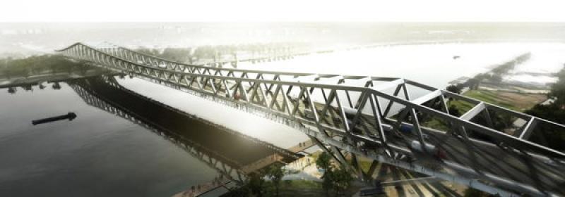 Image de synthèse du projet du pont design en Chine