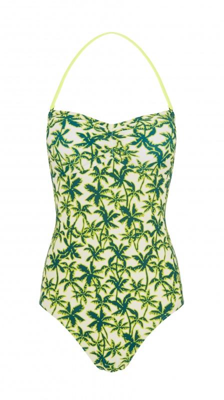 Maillot de bain imprimé palmier vert