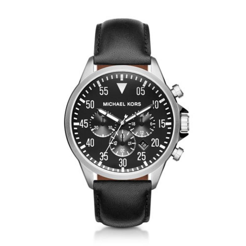 Montre bracelet cuir noir Michael Kors