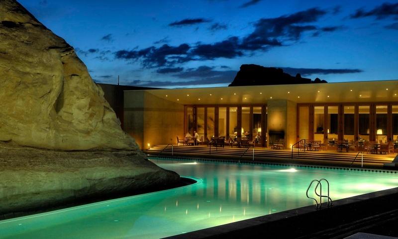 Piscine de nuit - Amangiri hôtel - désert - Etats-Unis
